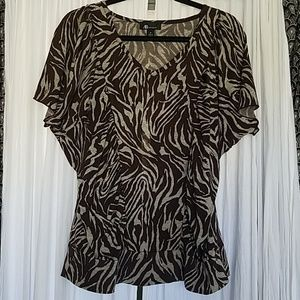 AB Studio Animal Print Top